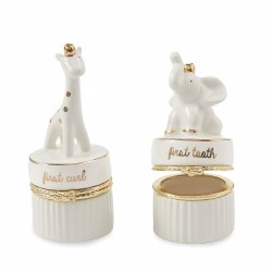 N L - Tooth & Curl Set Giraffe and Elephant White/Gold