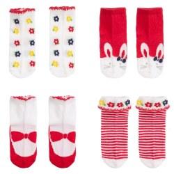 Spanish Line - Sock Set Bunny & Flowers - Red 0M