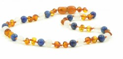 Nilo Baby - Amber Necklace - Cognac/White Agate/Lapis Lazuli