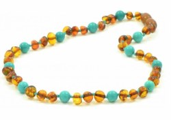 Nilo Baby - Amber Necklace - Cognac/Turquoise