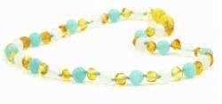 Nilo Baby - Amber Necklace - Honey/White Agate/Aquamarine