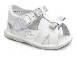 Nilo Baby - Baby T-Strap Baby Sandals with Bow White/Silver 18
