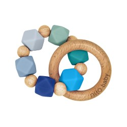 Nilo Baby - Silicone & Wood Teether - Blue Charm