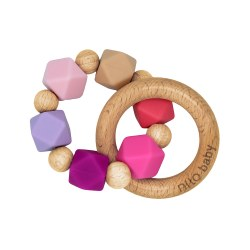 Nilo Baby - Silicone & Wood Teether - Pink Charm