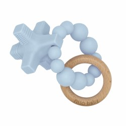 Nilo Baby - Silicone & Wood Teether - Hugs & Kisses Baby Blue