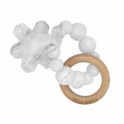 Nilo Baby - Silicone & Wood Teether - Hugs & Kisses Marble