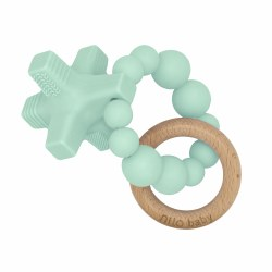Nilo Baby - Silicone & Wood Teether - Hugs & Kisses Mint