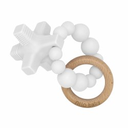 Nilo Baby - Silicone & Wood Teether - Hugs & Kisses White