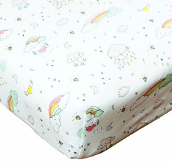 Noomie - Pima Cotton Crib Sheet - Rainbows