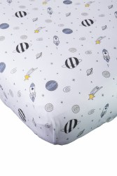 Noomie - Pima Cotton Crib Sheet - Blue Universe