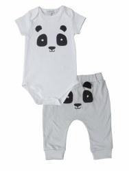 Noomie - Onesie Short Sleeve Set Grey Panda 0-3