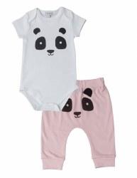 Noomie - Onesie Short Sleeve Set Pink Panda 0-3
