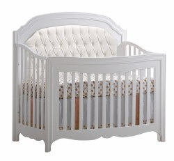 Natart - Allegra 5-in-1 Convertible Crib With Upholstered Panel - White
