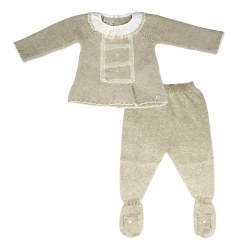 Paz Rodriguez - Knitted Pant Set Paz - Beige 0M