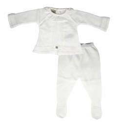 Paz Rodriguez - Knitted Pant Set Esencia - White 0M