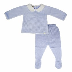 Paz Rodriguez - Knitted Pant Set - Blue 0M