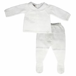 Paz Rodriguez - Knitted Pant Set - White 0M