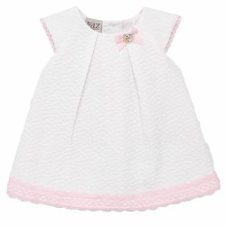 Paz Rodriguez - Woven Dress Esencia - White/Pink 6M