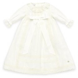 Paz Rodriguez - Woven Long Sleeves Dress - Cream 12M