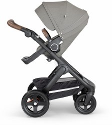 Stokke - 2018 Trailz Stroller Black Chassis with Brown Handle - Brushed Grey