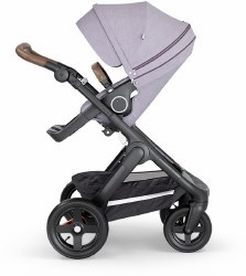 Stokke - 2018 Trailz Stroller Black Chassis with Brown Handle - Brushed Lilac