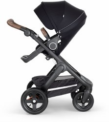 Stokke - 2018 Trailz Stroller Black Chassis with Brown Handle - Black