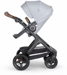 Stokke - 2018 Trailz Stroller Black Chassis with Brown Handle - Grey Melange