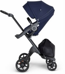 Stokke - Xplory V6 Stroller Black Chassis with Black Handle - Deep Blue