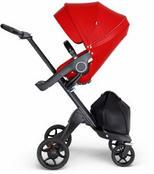 Stokke - Xplory V6 Stroller Black Chassis with Black Handle - Red