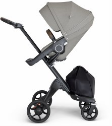 Stokke - Xplory V6 Stroller Black Chassis with Brown Handle - Brushed Grey