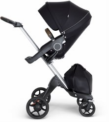 Stokke - Xplory V6 Stroller Silver Chassis with Brown Handle - Black
