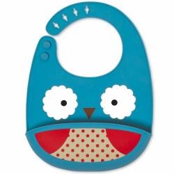 Skip Hop - Zoo Fold and Go Silicone Bib Owl