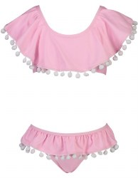 Snapper Rock - Bikini Pom Pom Shoulder Flounce - Pink 2T