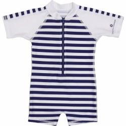 Snapper Rock - Navy/White Stripes Short Sleeve Sunsuit 0-6
