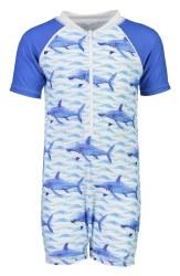 Snapper Rock - Short Sleeve Sunsuit School of Sharks 0-6