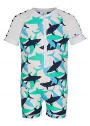 Snapper Rock - Shark Short Sleeve Sunsuit 0-6