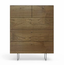 Spot On Square - Alto Dresser - 5 Drawer Walnut/White