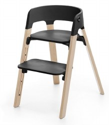 Stokke - Steps High Chair - Seat Black/Legs Natural