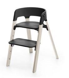 Stokke - Steps High Chair - Seat Black/Legs White Wash