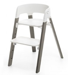 Stokke - Steps High Chair - Seat White/Legs Hazy Grey
