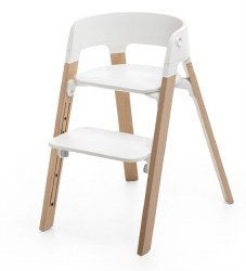 Stokke - Steps High Chair - Seat White/Legs Natural