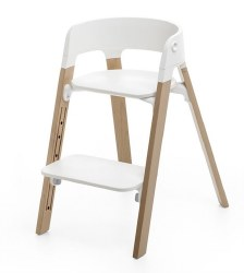Stokke - Steps High Chair - Seat White/Legs Oak Natural
