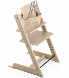 Stokke - 2019 Tripp Trapp Oak High Chair & Baby Bundle - Oak White