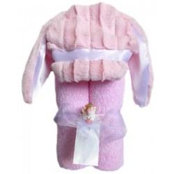 Swankie Blankie - Hooded Towel Bunny Pink