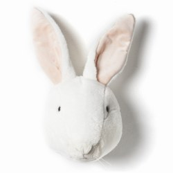 Plush Head -  Animal Head -  White Rabbit