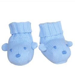 Knitted World - Bear Booties Blue 0-3
