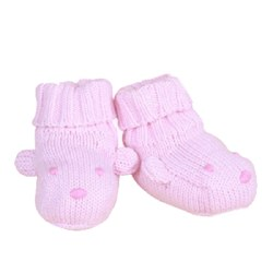 Knitted World - Bear Booties Pink 0-3