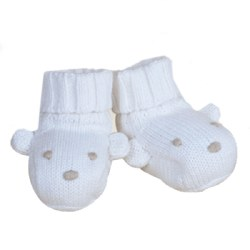 Knitted World - Bear Booties White 0-3