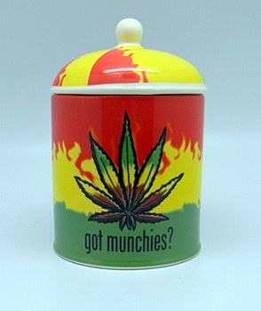 "Ceramic Rasta Leaf ""Got Munchies"" Cookie Jar"