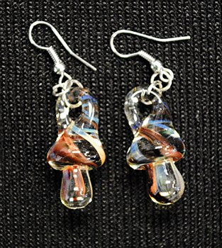 Hand Blown Glass Mushroom Earings